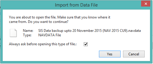 final confirmation to import data in nav