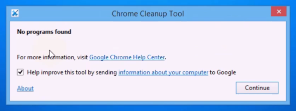 chrome cleanup tools processing