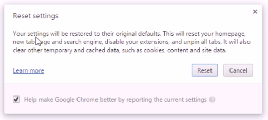 chrome reset setting