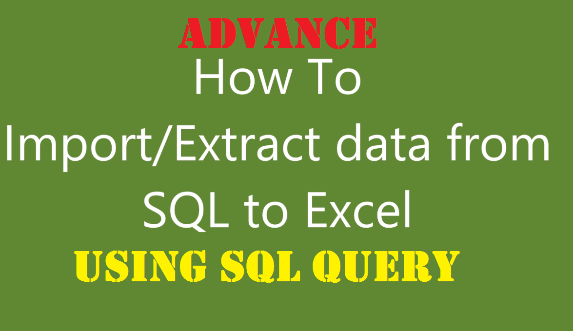how to import data from sql to excel