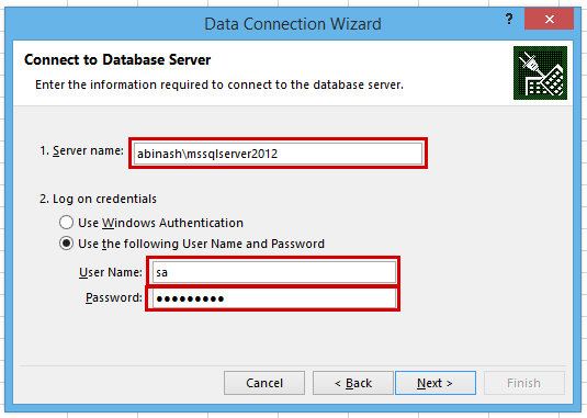 how to select database and login method